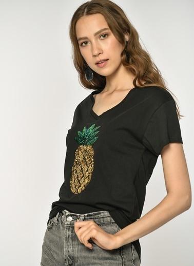 Loves You Ananas Payetli Tişört Siyah